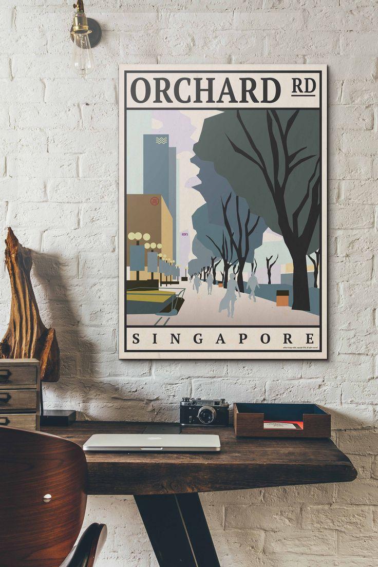 Orchard Road Vintage Travel Poster / eck&art design studio