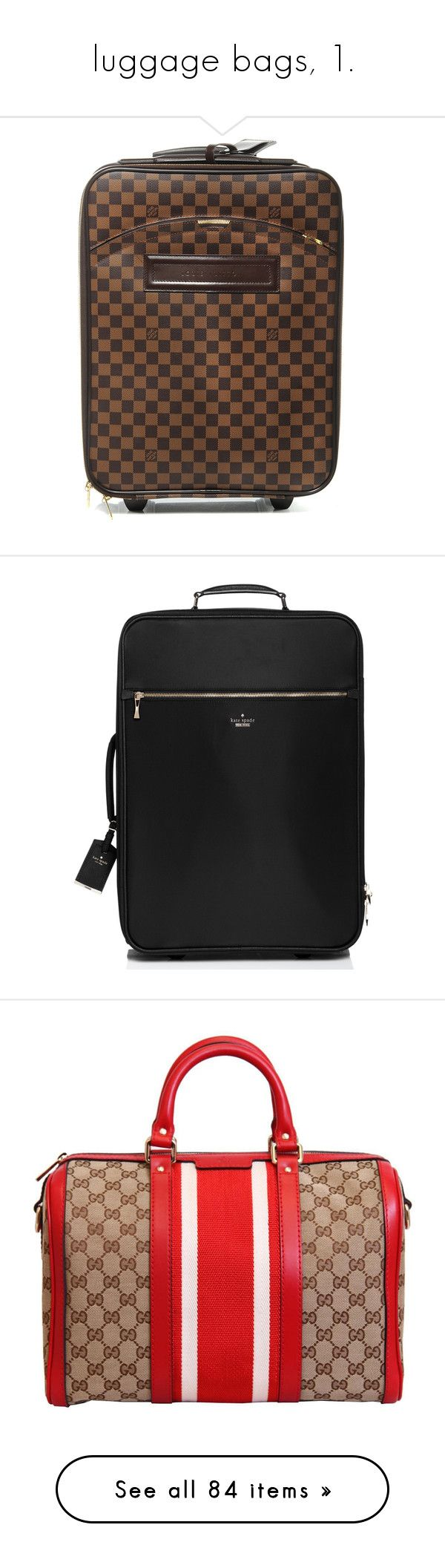 """""""luggage bags, 1."""" by originalimanim ❤ liked on Polyvore featuring bags, luggage, suitcases, travel, handbags, purses, bolsas, borse, gucci purse and red hand bags"""