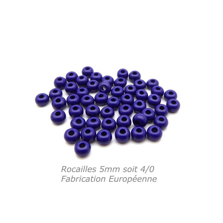 50 Rocailles 5mm bleu marine opaque soit environ 7g Rocailles 4/0 bleu marine : Perles de Rocaille par mf-apprets-et-perles