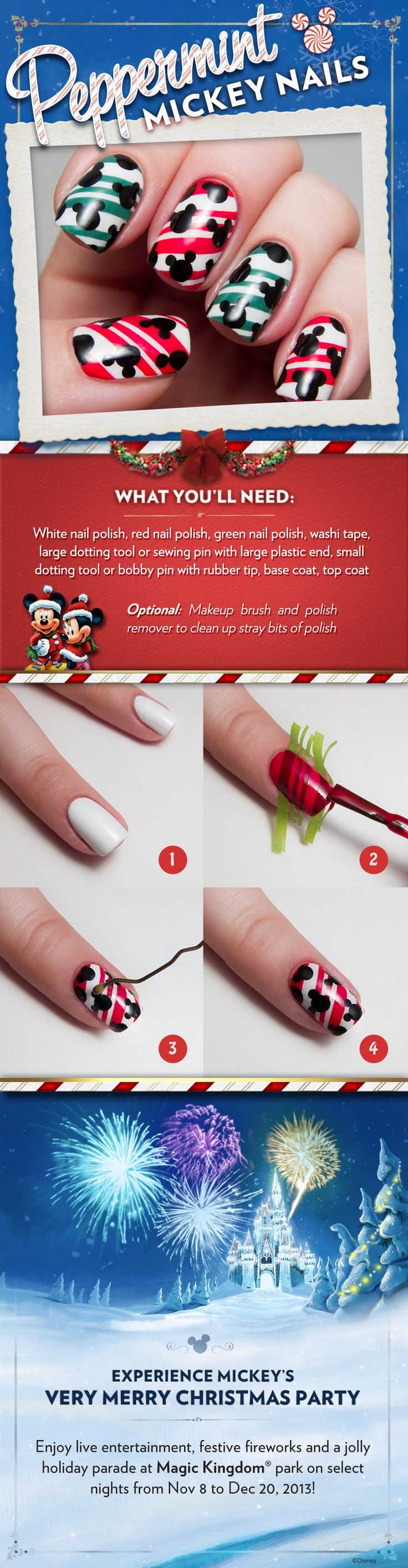 Pepperming Mickey Nails #DIY #Tutorial #WaltDisneyWorld #Christmas
