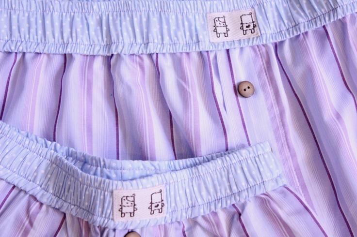 Short Samba-Canção em tecido listrado Azul e Roxo. Ótima opção como presente para o Dia dos Pais.  Diversos tamanhos para adultos e crianças.