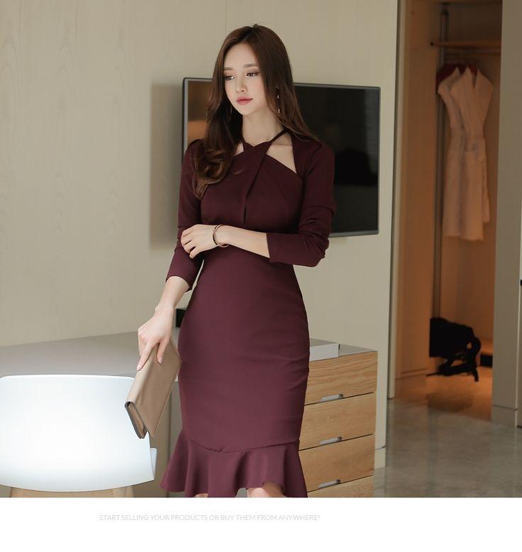 2017 primavera mulheres dress escritório bandagem do vintage bodycon vestidos vestidos de festa vermelho arroxeado plus size sexy magro mermaid dress em Vestidos de Das mulheres Roupas & Acessórios no AliExpress.com | Alibaba Group