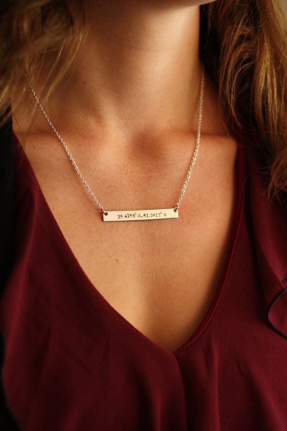 Silver or gold bar necklace, with personalized coordinates on a silver nameplate by DistinctlyIvy on Etsy. Simple identity necklace - this is a