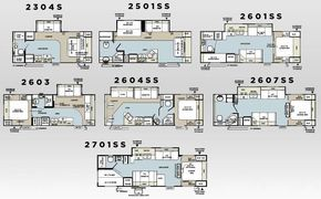 Forest River Rockwood Ultra lite travel trailer floorplans - could be floor plans for ultra small housing
