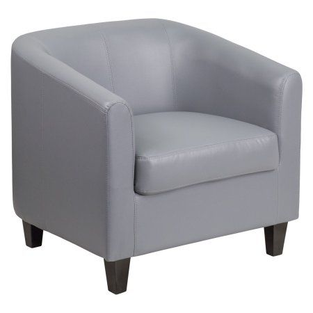 Flash Furniture Grey Leather Office Guest Chair/Reception Chair, Gray