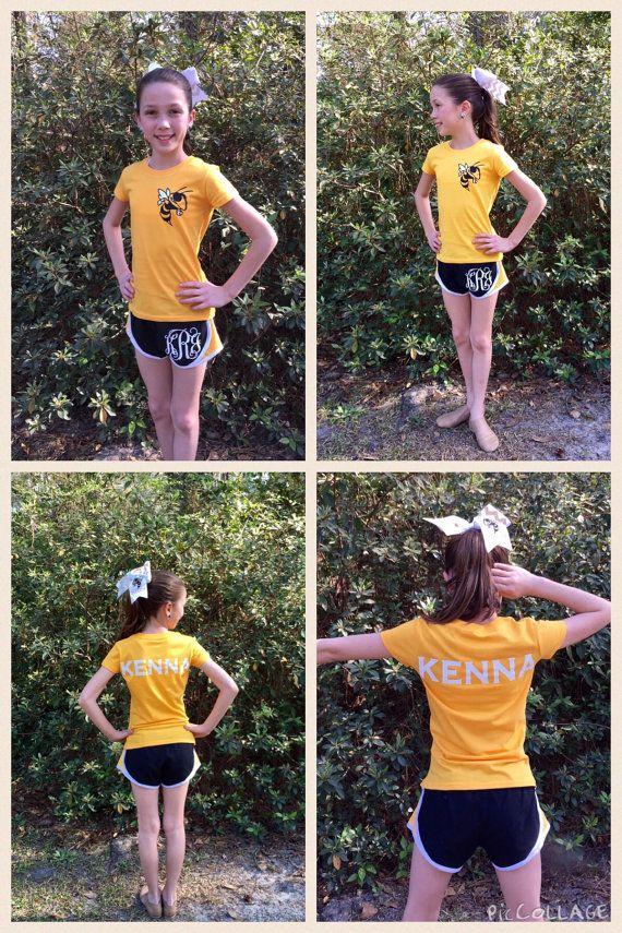 Cheer Shorts T shirt Cheer bow Monogram shorts T by PoshBoutiqueGa