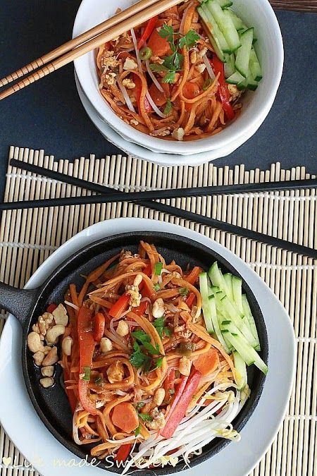 """Pad Thai with Sweet Potato """"Noodles"""" - All the traditional flavors of Pad Thai you love in a grain free and meatless version using sweet potato """"noodles @LifeMadeSweeter"""