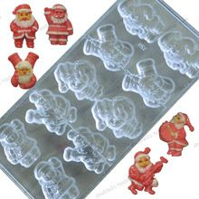 10cups/mold 3D Christmas Mold Chocolate,3D Santa Claus Mixed Polycarbonate Chocolate Molds,Moldes Para Chocolate Tools(China (Mainland))