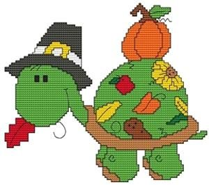 Thanksgiving Turtle Cross Stitch Pattern (CSW0014) Embroidery Patterns by Cross Stitch Wonders