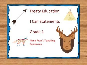 Treaty Education I Can Statements Grade 1 I Can Statements