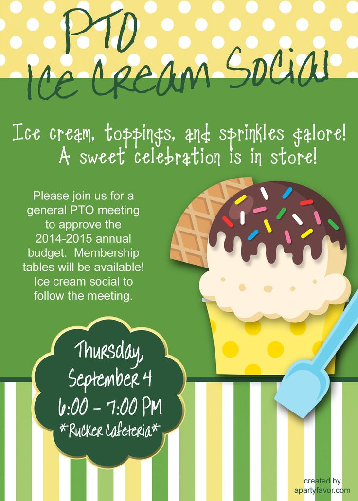 Event flyer for Ice Cream Social perfect for association meeting in the fall or in the summer