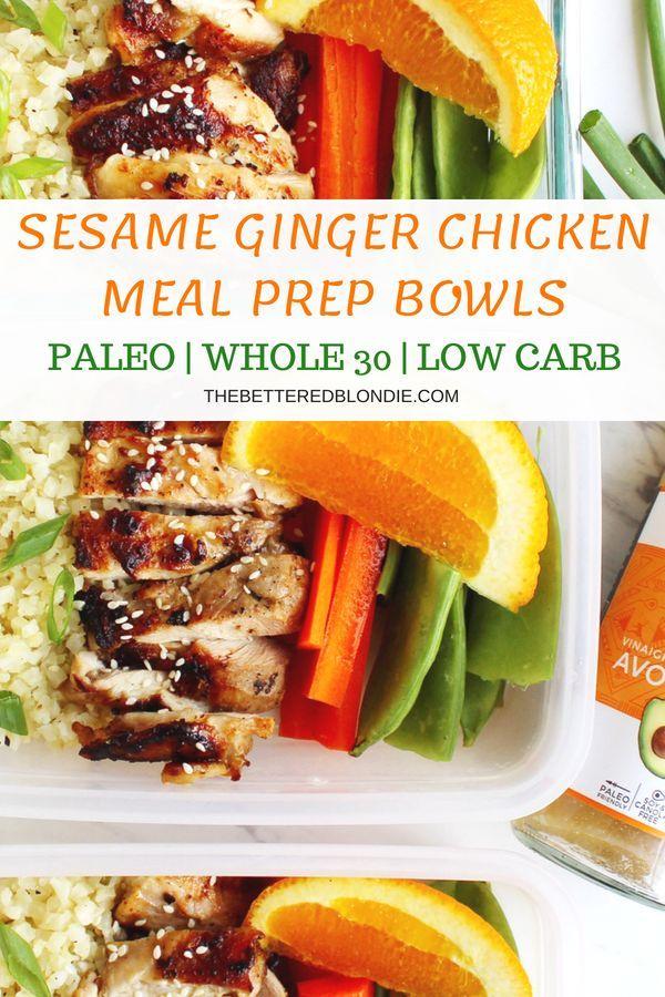 Sesame Ginger Chicken Meal Prep Bowls Recipe Gluten Free Dinner