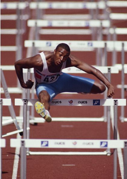 Colin Jackson of Great Britain during the Men's 110 metres Hurdles event at the XXIV Summer Olympic Games in 1988 at the Seoul Olympic Stadium in Seoul,