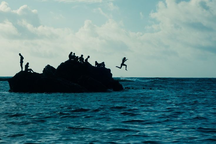 海, ラス・パルマス, 島, ジャンプ, 夏, カナリア, 雲