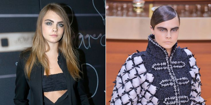 Cara went brunette not too long ago for her role in John Green's Paper Towns, then she went back to blonde, and at the Chanel Fall 2015 brasserie-themed show, she was dark again. Was it just for Karl because, I don't know, brown looked more harmonious with the waiters' uniforms or something? Probably not, but it's fun to imagine.   - MarieClaire.com
