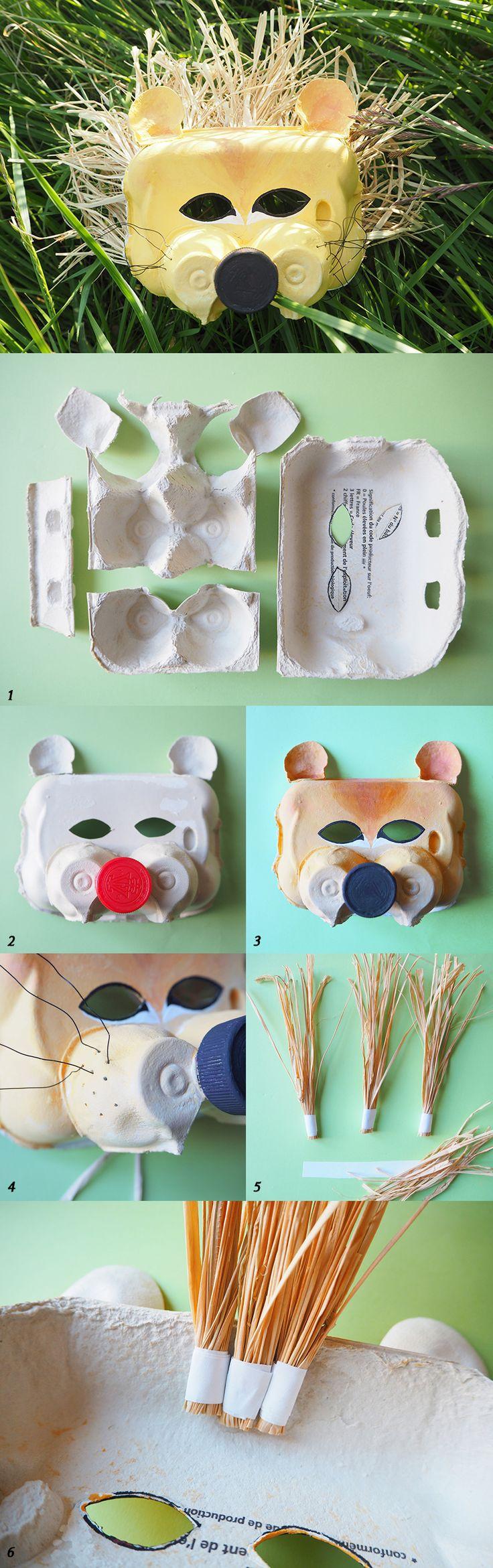 Afocal Bretagne. Le masque de lion avec des boîtes à œufs. Simple et efficace ! Pensez à tester votre activité en amont !