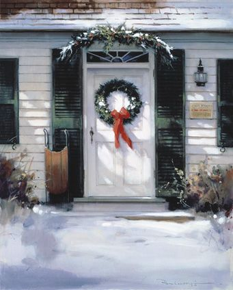 door with wreath: Christmas Art, Front Doors, Paul Landry, Landry Art, Christmas Decor, Christmas Card, Painting, Landry Christmas, Christmas Door