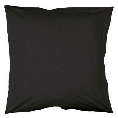 Taie oreiller carrée, 63 x 63 cm, de couleur charbon. 100% coton, 57 fils, volant plat et point bourdon.<br><br>Liste du linge de lit uni disponible dans cette gamme, en coloris charbon (selon stocks) :<br>- Drap housse en 90, 140, 160 et 180 cm.<br>- Tai