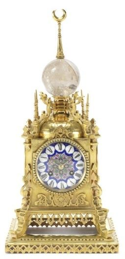 Antique Clocks :     Roblin & Fils Freres Late 19th Century French Gilt Brass & Sevres Style, Porcelain Plaque Turkish Table Clock    -Read More –   - #Clocks https://decorobject.com/decorative-objects/clocks/antique-clocks-roblin-fils-freres-late-19th-century-french-gilt-brass-sevres-style/