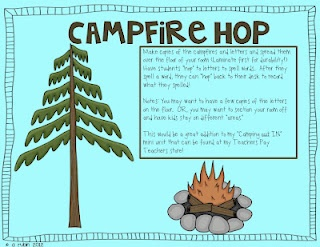 Camping Hop-Making Words Activity! Save for First day ...great game ideas to kee them moving