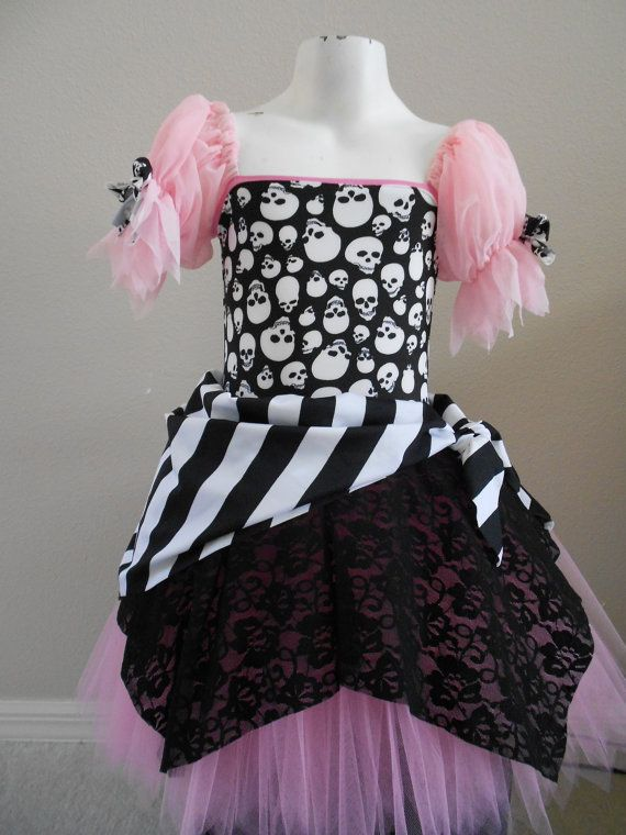 Pirate Costume Pink  Pirate tutu costume by primafashions. gonna get it and add pink bows to the skulls to make it even cuter for my Pirate Princess this Halloween!!!