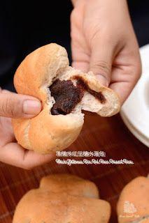 黑糯米红豆糖水面包 Black Glutinous Rice Red Bean Dessert Buns