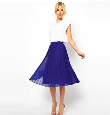 The Jackie- Royal Blue Midi Pleaded Skirt - Harlow and Liv