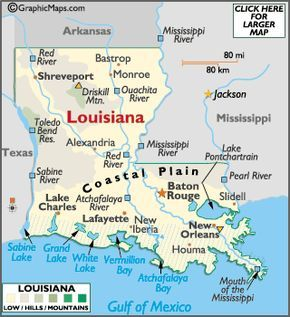 Minnesota Mountain Ranges   Louisiana Map / Geography of Louisiana/ Map of Louisiana - Worldatlas ...