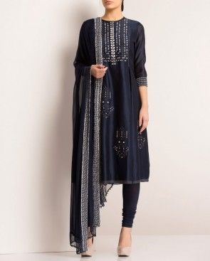 AM:PM Midnight Blue Anarkali Suit