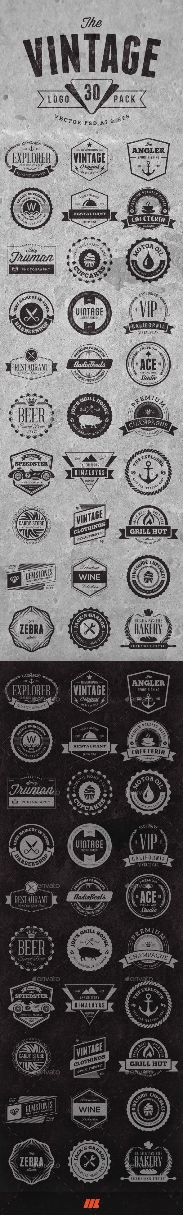 30 Vintage Logo Badges - Badges & Stickers Web Elements