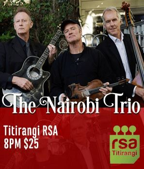 "Celebrating their 25th year together the trio have become one of New Zealand's best-loved and accessible jazz combos, Stefan Grappelli once said of them that they ""play with passion and flair that international audiences adore"".  Tickets through Eventfinder, Titirangi Pharmacy, and the RSA. $25.00 (Make sure to book a table early by phoning 817 6415) #musicfestival"