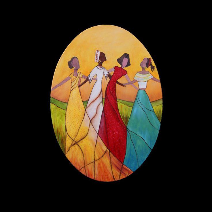 ARTIST: Cécile Dossogne TITLE: Dancing peoples TECHNIQUE: Oil on canvas SIZE: 27.58'' X 19.70'' x 0.79''
