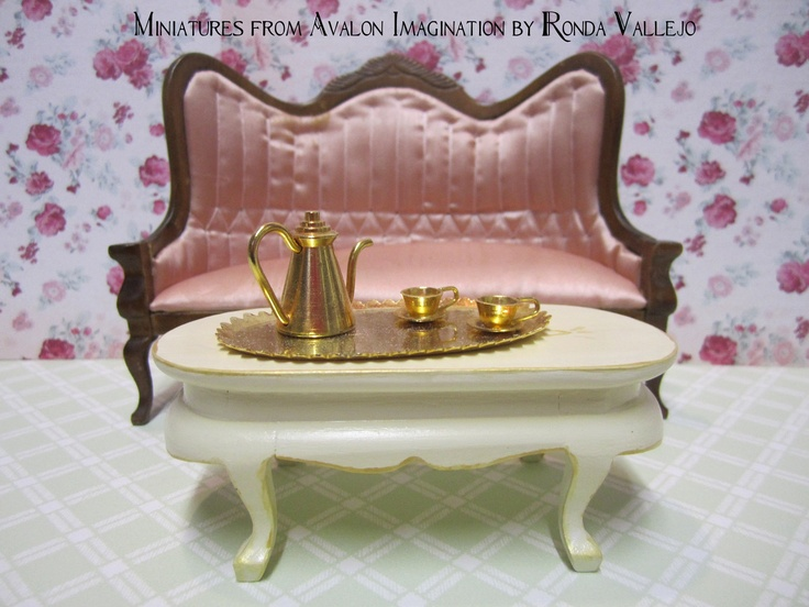 Miniature dollhouse Victorian Coffee Table 1/12th Scale in hand-painted in antique white with gold accents. Click to view via Etsy.