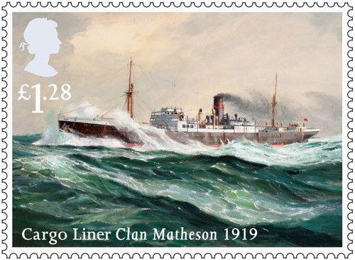 Merchant Navy stamp - £1.28 - Clan Matheson, 1919.