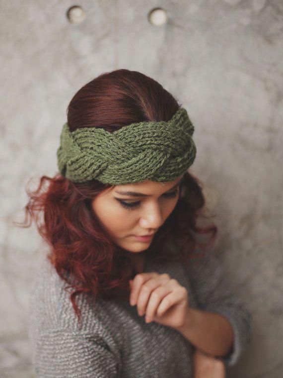 NEW  Braided  Olive Knit Headband Head Warmer Ear by RumRaisins