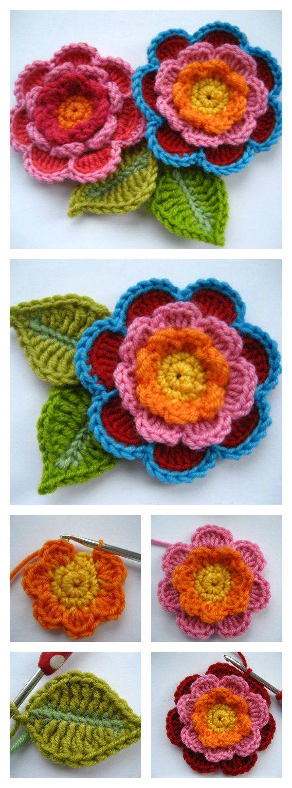 Best 25 crocheted flowers ideas on pinterest crochet roses crochet beautiful triple layer flower free pattern and tutorial bankloansurffo Gallery