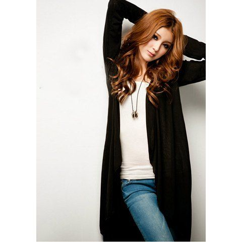Fashionable V-Neck Buttonless Long Sleeve Cotton Blend Women's Long Coat, BLACK, ONE SIZE in Jackets & Coats | DressLily.com