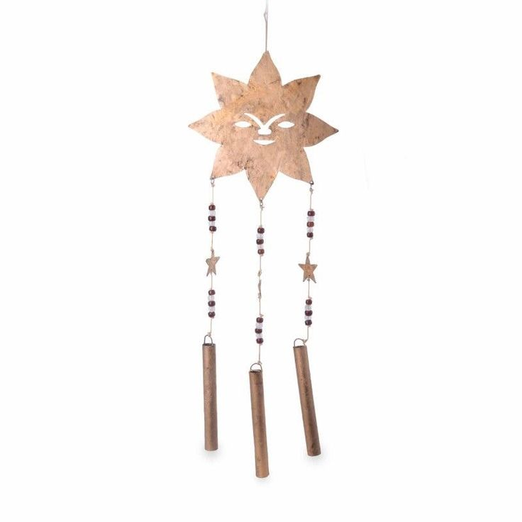 Metal Garden Wind Chime Ornament Hanging Metal Sun Face Aged Gold Home Garden #Gardens2you #AsianOriental
