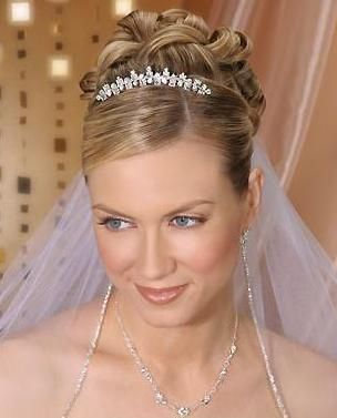 Hairstyle with tiara and veil
