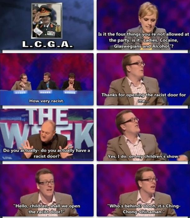 mock the week, I'm gonna do this whenever someone is racist from now on