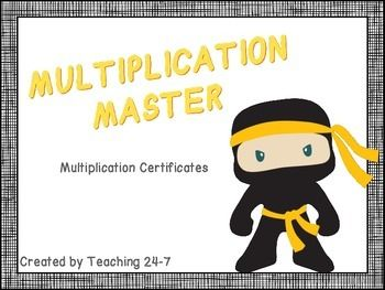 """Celebrate your students' mastery of their basic multiplication facts with these """"Multiplication Master"""" certificates!As students master each level, they earn a certificate until they have mastered all of their multiplication facts.Includes color certificates for the 0/1s, 2s, 3s, 4s, 5s, 6s, 7s, 8s, 9s, and 10s facts."""