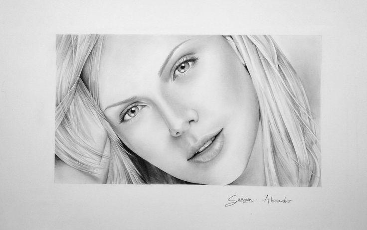 disegno a matita, Charlize Theron