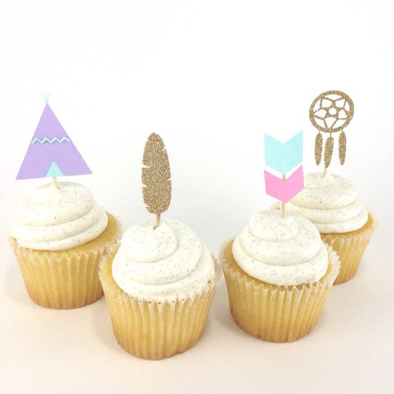 Tribal Cupcake Toppers Boho Birthday Party by Bcbabycreations