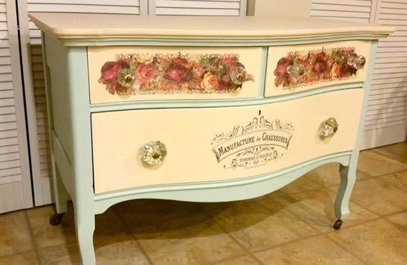 Furniture Decal Vintage Image Transfer Florist Rose Upcycle Shabby Chic Antique