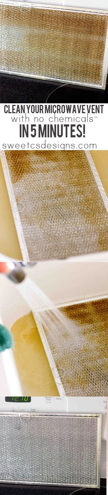 How to clean your under microwave-over stove vent grate without ANY chemicals and hardly any work in under five minutes! This is an AMAZING tip and is SO easy! Perfect for cleaning out funky microwave vent co