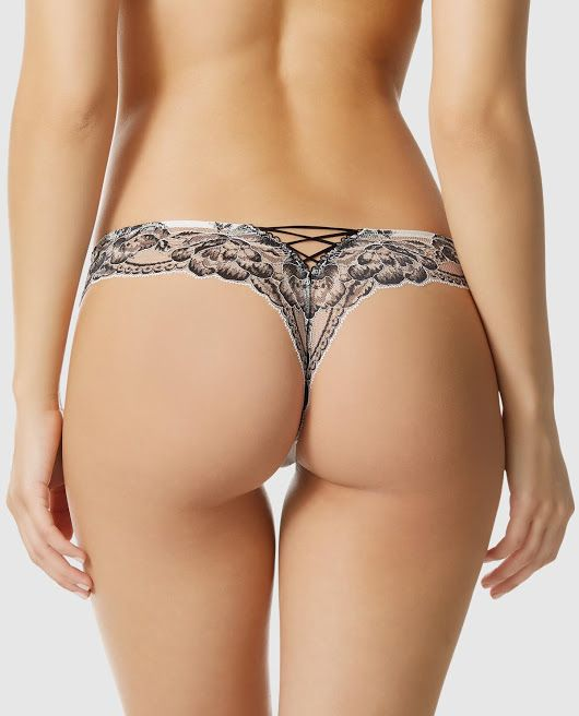 b7fee3830d3 Image  Microfiber Front Thong Panty with Corset Back