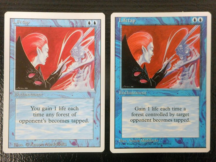 Vintage Lifetap Enchantment Magic Card Pair, 1993 and 1995 versions, Uncommon, Original Magic The Gathering