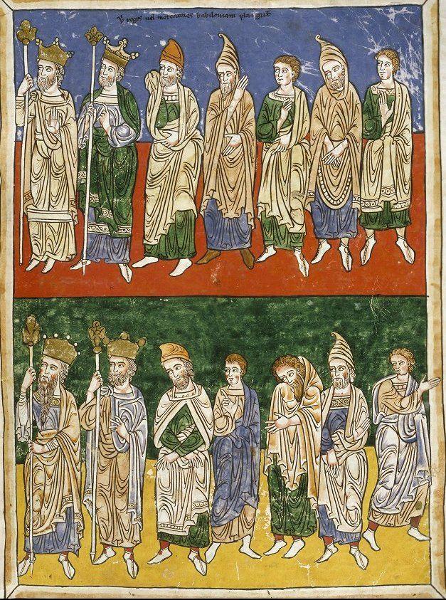 Rylands Beatus  Commentary on the Apocalypse by Beatus of Liébana, copy of c.1175  Ubi reges uel mercatores babiloniam plangunt  Folio 182r. Where kings or merchants lament for Babylon