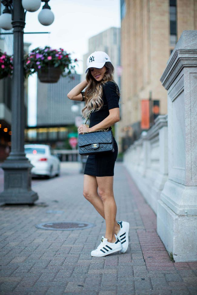 Street Style: Weekend Casual. - Mia Mia Mine. Baseball Hat, Asos Dress, adidas Sneakers, Chanel Bag