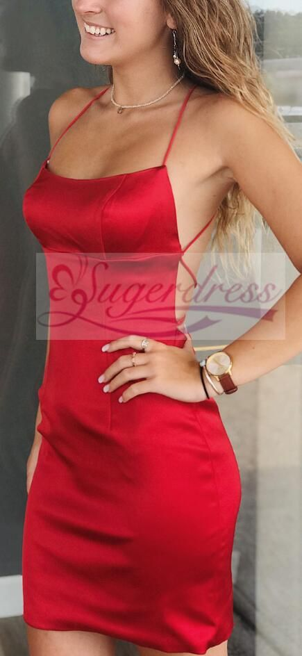 Sexy Straps Short Red Tight Homecoming Dress 4a68f4bdb